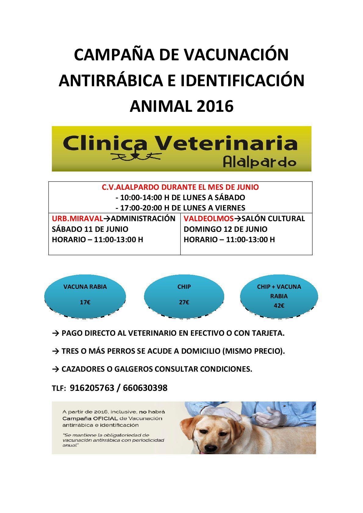 CAMPAÑA DE VACUNACIÓN ANTIRRÁBICA E IDENTIFICACIÓN ANIMAL 2016-001