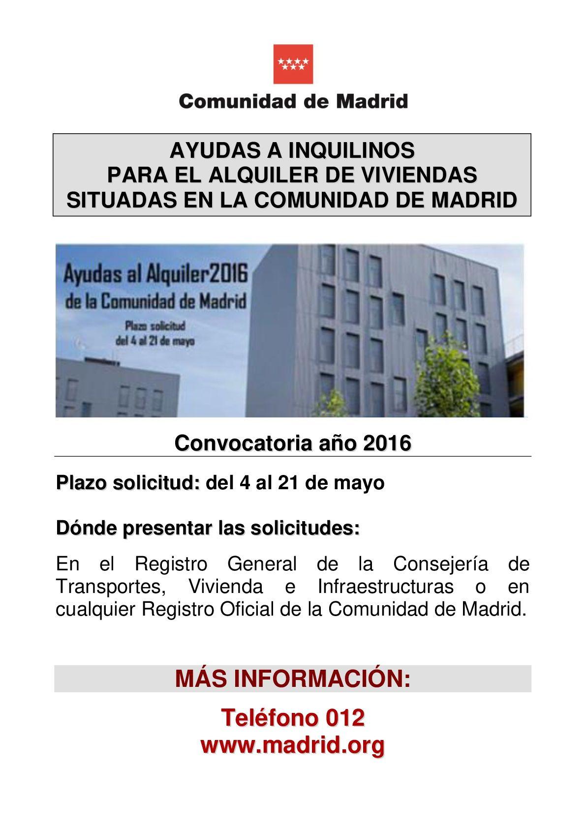 Ayudas Al Alquiler 2016 En La Comunidad De Madrid Ayuntamiento De