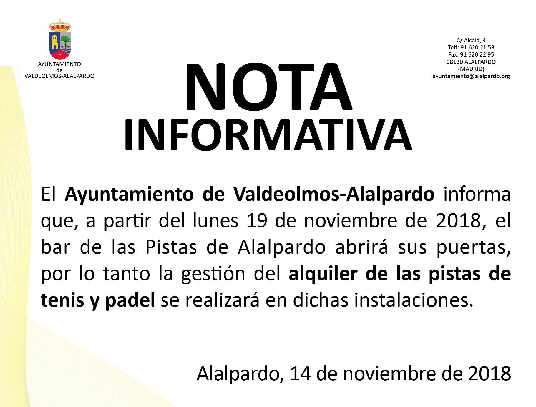 Nota Informativa - ALQUILER PISTAS TENIS y PÁDEL
