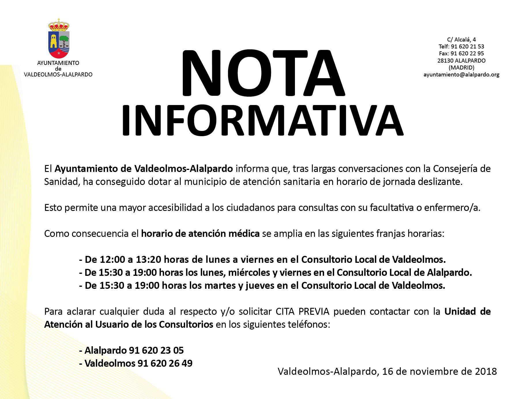 Nota Informativa - HORARIO DE ATENCIÓN MÉDICA