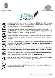 Nota Informativa III Camino Cervantes