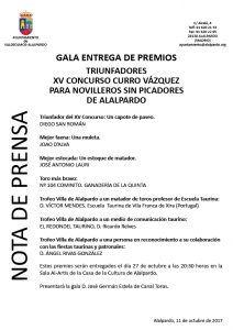 Nota de Prensa XV Concurso