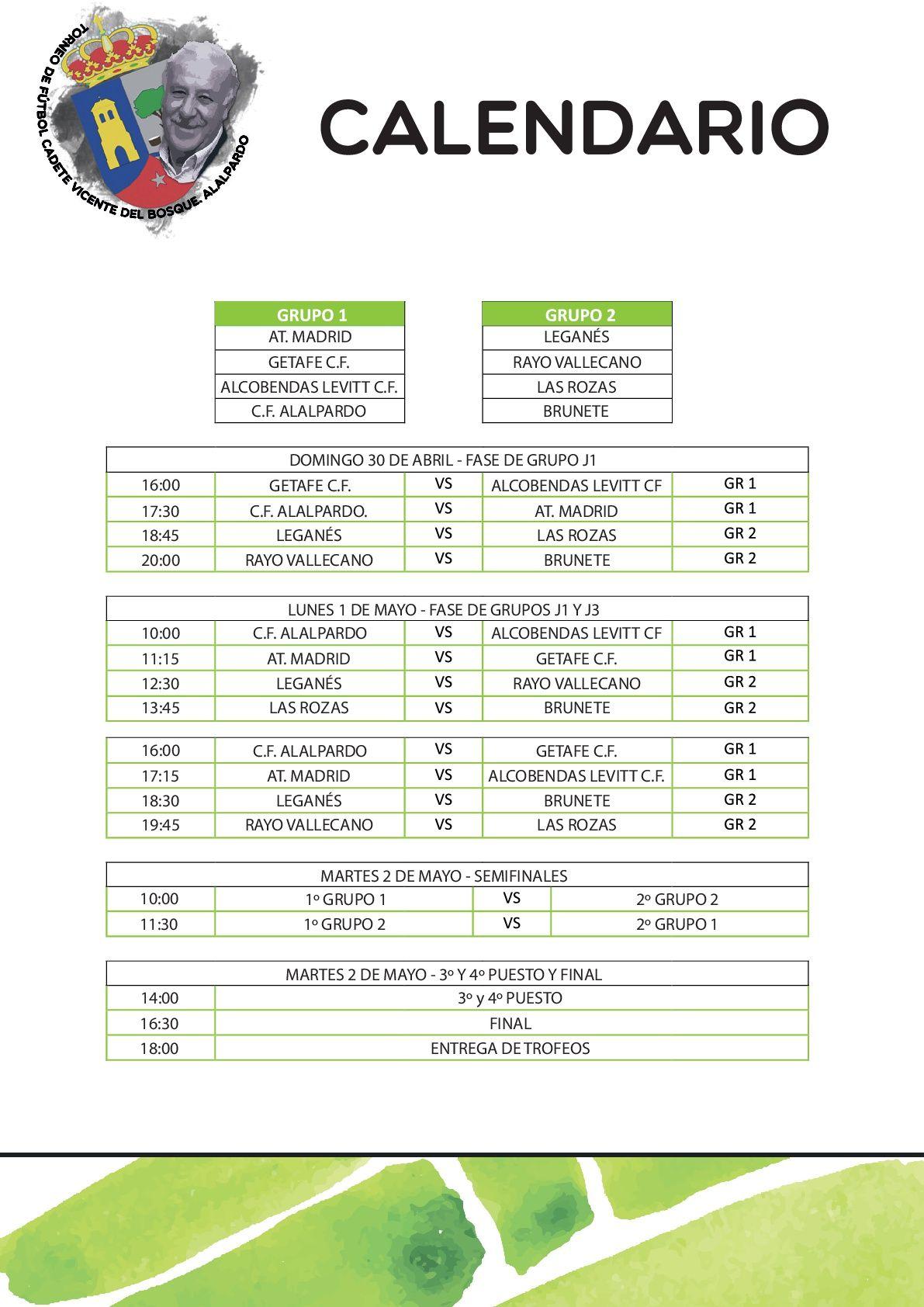 Futbol Calendario.Calendario De Partidos Ii Torneo De Futbol Vicente Del Bosque