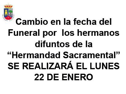 Cambio en la fecha del Funeral