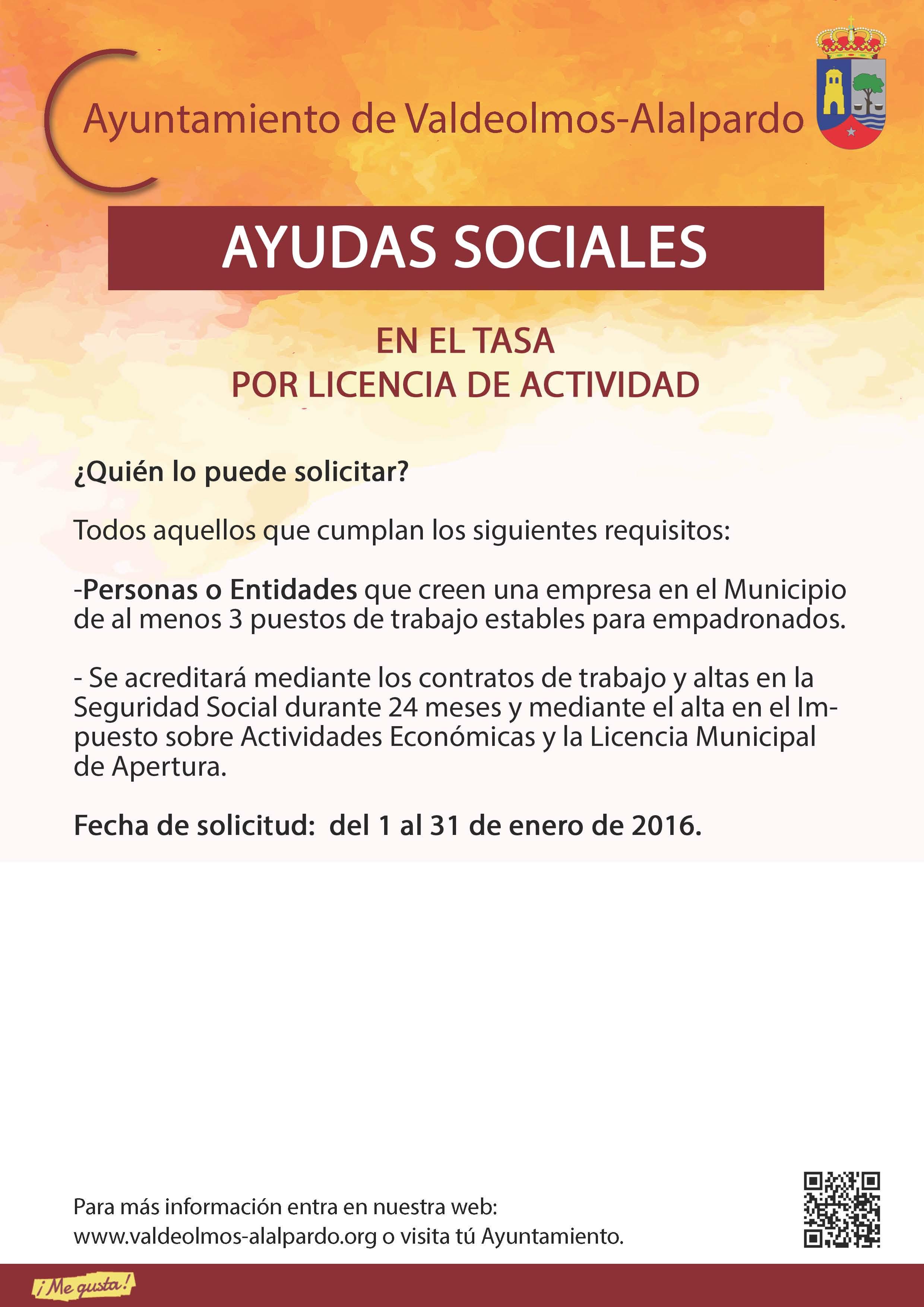 Plantilla AYUDAS SOCIALES TASA POR LICENCIA DE ACTIVIDAD